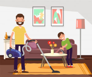 Father and son cleaning, doing household chores. Premium Vector