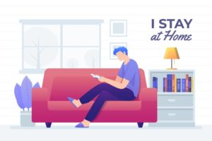 Man reading on couch illustration Free Vector